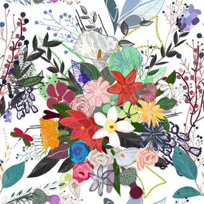 Colorful mix flower bouquet pattern
