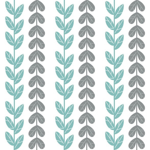 teal and grey leaves