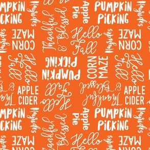 (small scale) Favorite things of fall - fall words on orange - LAD19BS