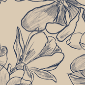 Magnolia Blooms Ink Sketch on nude