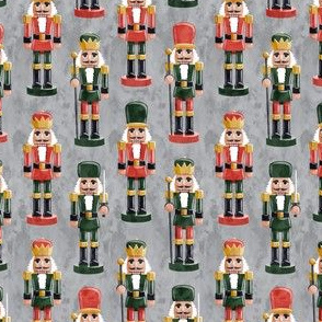 (small scale) Nutcrackers - green on red on grey - Christmas fabric - Soldier nutcrackers- LAD19