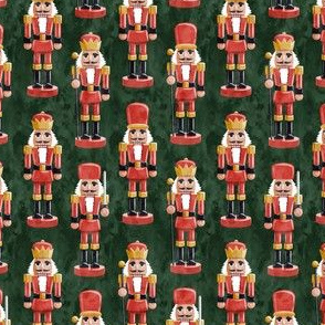 (small scale) Nutcrackers - red on green - Christmas fabric - Soldier nutcrackers- LAD19