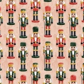 (small scale) Nutcrackers - green and red on blush - Christmas fabric - Soldier nutcrackers- LAD19