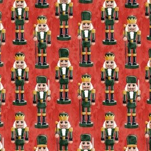 (small scale) Nutcrackers - green on red - Christmas fabric - Soldier nutcrackers- LAD19