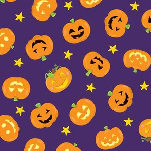 Pumpkins On Purple