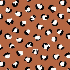 Trendy panther print animals fur modern Scandinavian style raw brush  abstract copper black and white