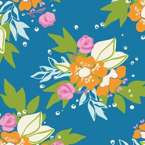 Night Blue Floral Bloom Pattern