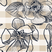 Ink Magnolias on Big and Bold Gingham