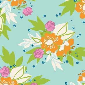 Aqua Floral Bloom Pattern