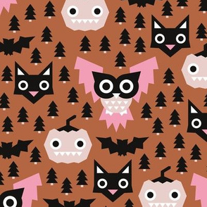 Halloween geometric fright night friends owls pumpkins bats and black cat copper pink girls
