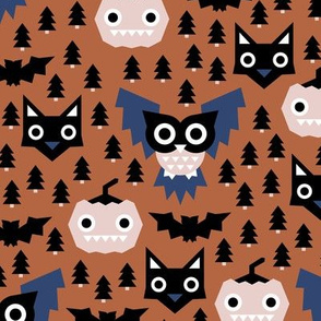 Halloween geometric fright night friends owls pumpkins bats and black cat copper blue navy