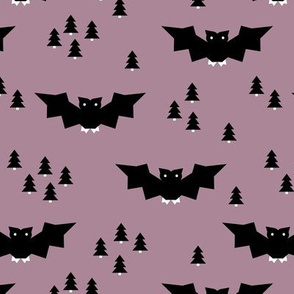 Minimal geometric bats and trees halloween woodland night mauve purple black