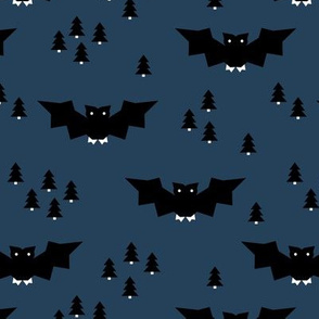 Minimal geometric bats and trees halloween woodland night navy blue