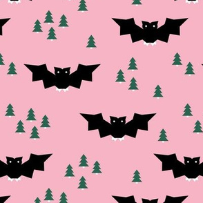 Minimal geometric bats and trees halloween woodland night pink emerald green girls