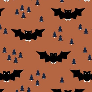 Minimal geometric bats and trees halloween woodland night copper terra cotta navy blue