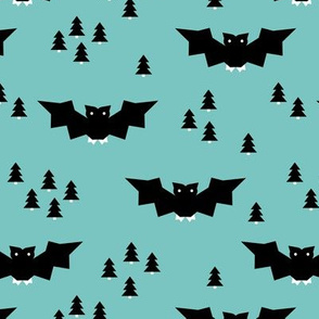 Minimal geometric bats and trees halloween woodland night blue black boys