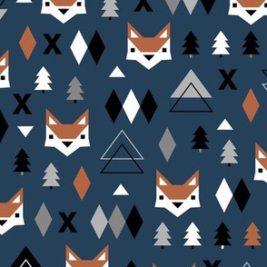 Scandinavian winter Christmas fox friends geometric style illustration design night winter navy blue gray boys