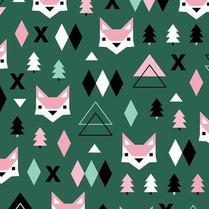 Scandinavian winter Christmas fox friends geometric style illustration design night winter forest emerald green pink girls