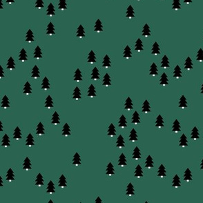 Minimal geometric pine tree forest Christmas winter wonderland woodland design abstract trees emerald green