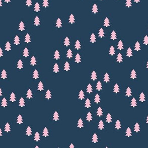 Minimal geometric pine tree forest Christmas winter wonderland woodland design abstract night navy blue pink