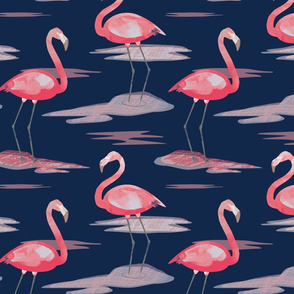 Tall Flamingos navy by Mount Vic and Me