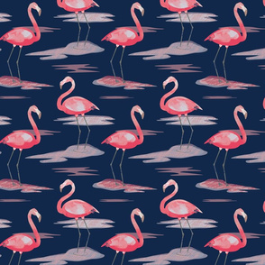 Tall Flamingos navy (small) by Mount Vic and Me