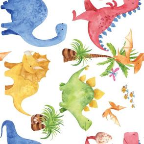 long ago dinosaurs having fun - rotated