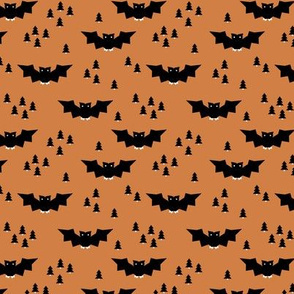 Minimal geometric bats and trees halloween woodland night moody orange SMALL