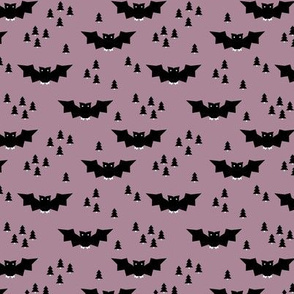 Minimal geometric bats and trees halloween woodland night mauve purple SMALL