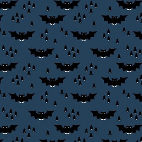 Minimal geometric bats and trees halloween woodland night navy blue SMALL