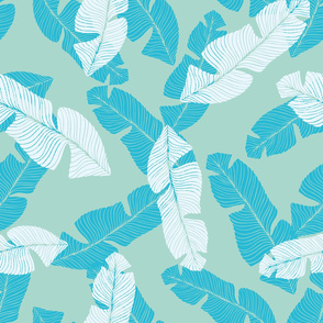 Turquoise and white tropical leaves