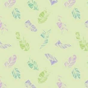 Pastels turquoise, green and purple geometric feathers