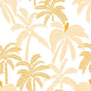 Orange palm trees and parrots with a white background