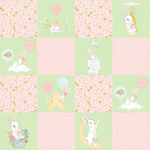 "13"" Spring is in the air - Little Bunnies and Cute Florals Patchwork - baby girls quilt cheater quilt fabric - spring animals flower fabric, baby fabric, cheater quilt fabric"