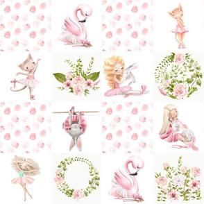 """13"""" Ballett Dance - Little Ballerinas and Cute Animals Patchwork on white"""
