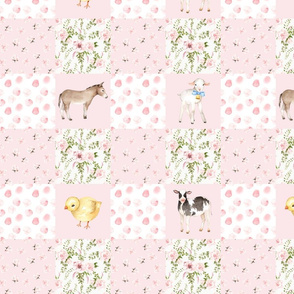 "14"" Spring Florals Mix with Little Animals on Farm on  pink"