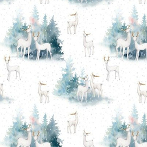 """5"""" snowy winter woodland with forest animals"""