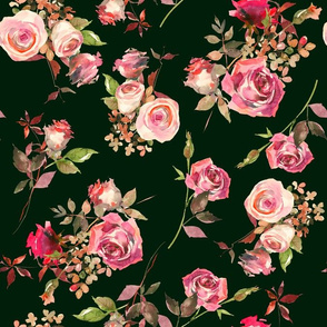 "13"" Dark Autumn Rose - pink and blush on dark green"