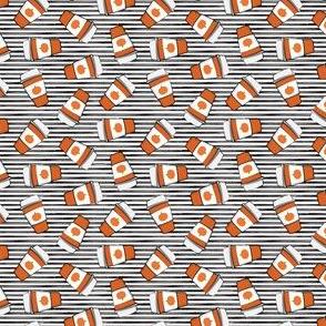 (micro scale) Pumpkin Spice - Coffee Cups - Latte on black stripes - Pumpkin fall drink - LAD19BS