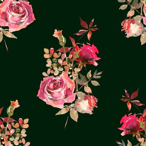 "9""  Dark Autumn Rose - pink and blush on dark green"