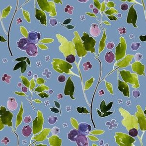 "6"" Autumn Berries Blue Background"