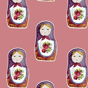 "4"" Little Babushka Berry Background"