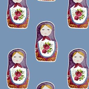 "4"" Little Babushka Blue Background"