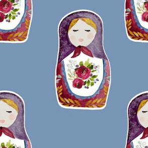 "8"" Little Babushka Blue Background"