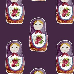 "4"" Little Babushka Eggplant Background"