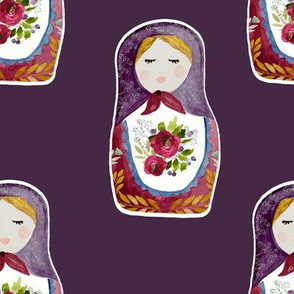 "8"" Little Babushka Eggplant Background"