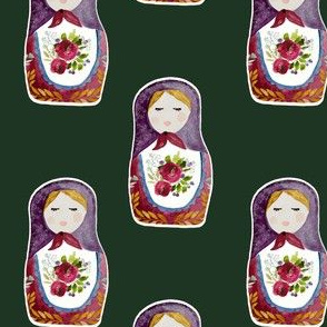 "4"" Little Babushka Hunter Green Background"