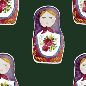 "8"" Little Babushka Hunter Green Background"
