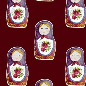 "4"" Little Babushka Scarlett Background"