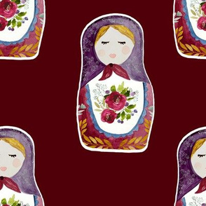 "8"" Little Babushka Scarlett Background"
